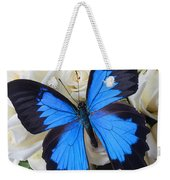 Blue Butterfly On White Roses Weekender Tote Bag