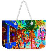 Blue Cafe In Springtime Weekender Tote Bag