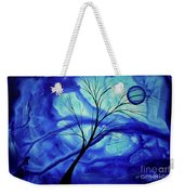 Blue Depth Abstract Original Acrylic Landscape Moon Painting By Megan Duncanson Weekender Tote Bag