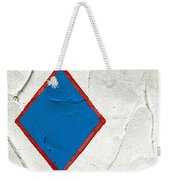 Blue Diamond Red Square White Wall  Weekender Tote Bag