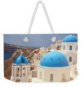 Blue Domed Churches Santorini Weekender Tote Bag