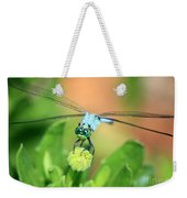 Blue Dragonfly And Bud Weekender Tote Bag