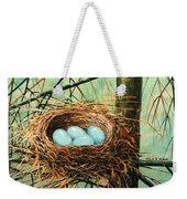 Blue Eggs In Nest Weekender Tote Bag
