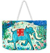 Blue Elephant Facing Right Weekender Tote Bag