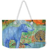 Blue Elephant Squirting Water Weekender Tote Bag