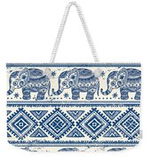 Blue Elephant With Ornaments Design Weekender Tote Bag