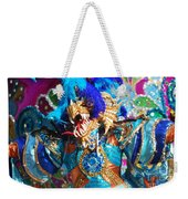 Blue Feather Carnival Costume And Colorful Background Horizontal Weekender Tote Bag