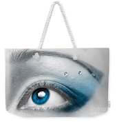 Blue Female Eye Macro With Artistic Make-up Weekender Tote Bag