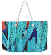 Blue Flame Cactus Acrylic Weekender Tote Bag
