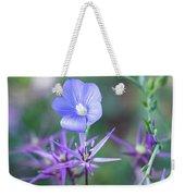 Blue Flax Wildflower With Purple Allium In Foreground Weekender Tote Bag
