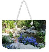 Blue Flowers And Stream Weekender Tote Bag by Corey Ford