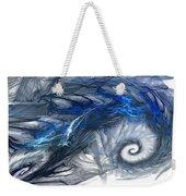 Blue Fractal Storm Weekender Tote Bag