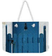 Blue Gate And Door On White House Weekender Tote Bag
