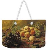 Blue Grapes And Peaches In A Wicker Basket Weekender Tote Bag