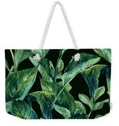 Blue Green Watercolor Tropical Leaves Weekender Tote Bag