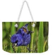 Blue Grosbeak On A Reed Weekender Tote Bag