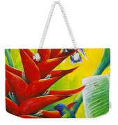 Blue-headed Hummingbirds And Heliconia Weekender Tote Bag