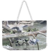 Blue Heron Fight Weekender Tote Bag