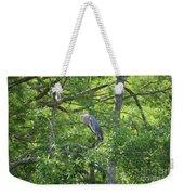 Blue Heron In Green Tree Weekender Tote Bag