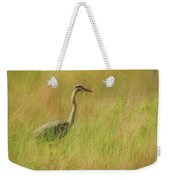 Blue Heron In The Grass. Weekender Tote Bag