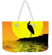 Blue Heron Sunset Weekender Tote Bag