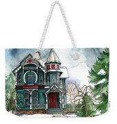 Blue House On A Grey Day Weekender Tote Bag