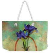Blue Iris In A Basket Weekender Tote Bag