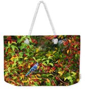 Blue Jay And Berries Weekender Tote Bag
