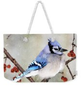 Blue Jay In Snowfall 3 Weekender Tote Bag