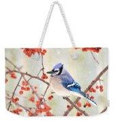 Blue Jay In Snowfall Weekender Tote Bag