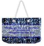 Blue Lights Abstract Christmas Weekender Tote Bag