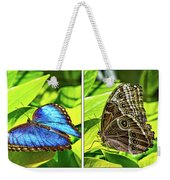 Blue Morpho Butterfly Diptych Weekender Tote Bag