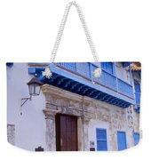 Blue Trim On White Building Weekender Tote Bag