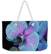 Blue Orchid On Black Weekender Tote Bag