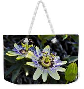 Blue Passion Flower Weekender Tote Bag