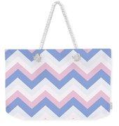Blue Pink Chevron Pattern Weekender Tote Bag