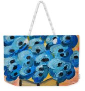 Blue Poppies In Square Vase  Weekender Tote Bag