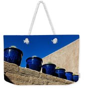 Blue Pottery On Wall Weekender Tote Bag