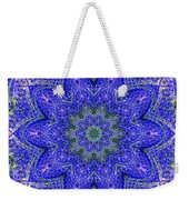 Blue Purple Lavender Floral Kaleidoscope Wall Art Print Weekender Tote Bag