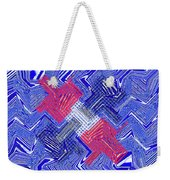 Blue Red And White Janca Abstract Panel Weekender Tote Bag