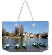 Blue Rowing Boats On The Thames At Hampton Court London Weekender Tote Bag
