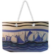 Blue Sailing Boats In The Harbour Weekender Tote Bag