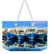Blue Shrimp Boats Weekender Tote Bag