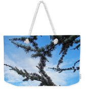 Blue Sky Art Prints White Clouds Conifer Pine Branches Baslee Troutman Weekender Tote Bag