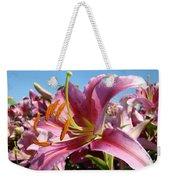Blue Sky Floral Landscape Pink Lilies Art Prints Canvas Baslee Troutman Weekender Tote Bag