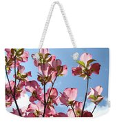 Blue Sky Landscape White Clouds Art Prints Pink Dogwood Flowers Baslee Troutman Weekender Tote Bag