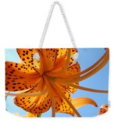 Blue Sky Sunshine Tiger Lily Flowers Giclee Prints Baslee Troutman Weekender Tote Bag