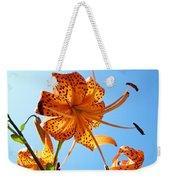 Blue Sky Tiger Lily Floral Garden Art Prints Baslee Troutman Weekender Tote Bag