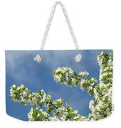 Blue Sky White Clouds Landscape Art White Tree Blossoms Spring Weekender Tote Bag