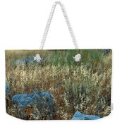 blue stones amongst the olive groves near Iznajar Andalucia Spain Weekender Tote Bag